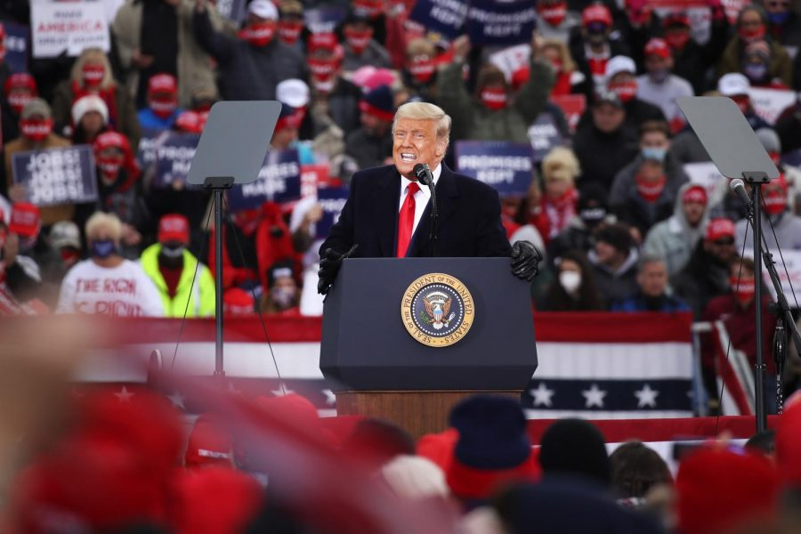 President Donald Trump speaks at a campaign rally in Reading, Pennsylvania, on one of four stops in the Keystone State on Saturday.