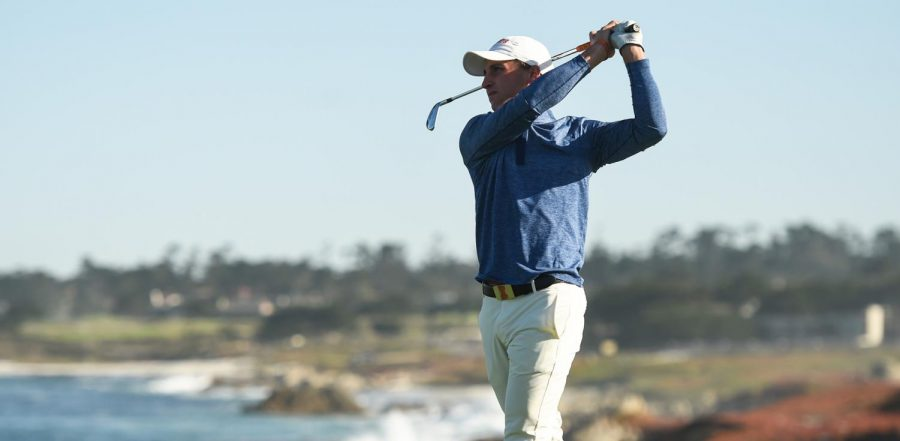Senior+Giovanni+Tadiotto+watches+as+his+ball+sails+through+the+air+after+a+swing+during+competition.+With+plans+to+turn+pro+after+the+2020+season%2C+Tadiotto+changed+his+path+to+accept+the+offer+to+stay+another+season+with+the+Illini.