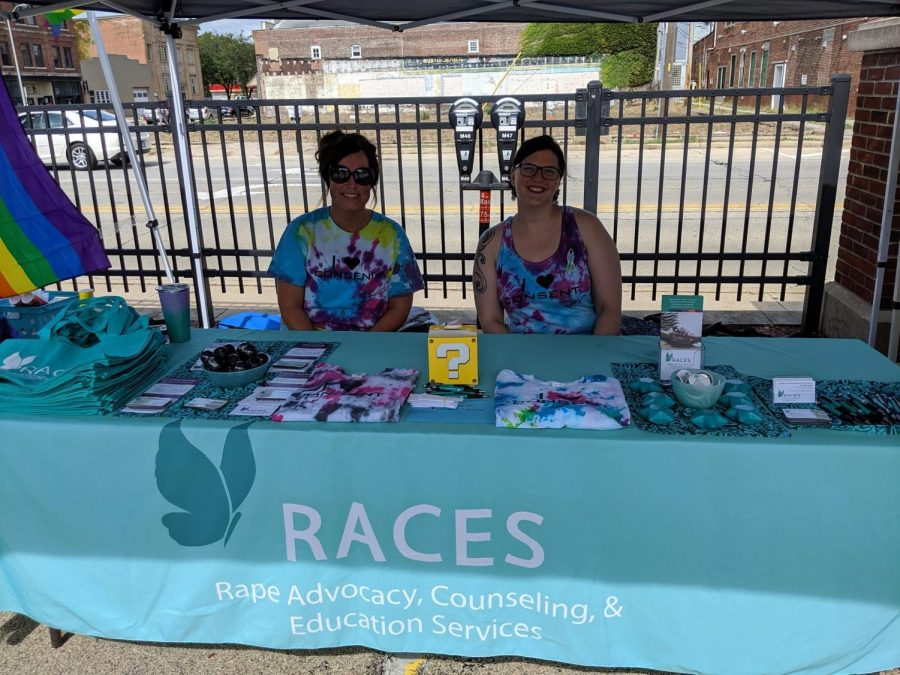 RACES representatives wait at a table at the C-U Pride Fest on Sept. 28, 2019. The organization has started receiving more calls since the COVID-19 pandemic began.