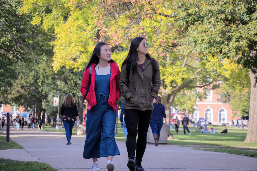 A pair of students walk on the Main Quad on Oct. 18, 2019. The University recently released guidelines to help prevent the spread of COVID-19 during Thanksgiving break.