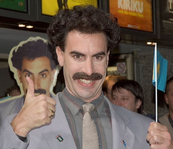 Sacha Baron Cohen, in character as Borat Sagdiyev, appears at his movie's premiere in Köln, Germany, on Nov. 10, 2006.