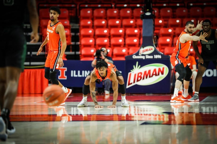 Adam Miller gets ready on defense in Illinois' game against Chicago State on Thursday. The Illini won 97-38 and move to 2-0.
