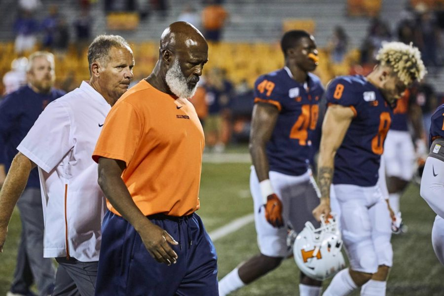 Illinois head coach Lovie Smith walks off the field after a disappointing 42-38 loss to Nebrasaka on Sept. 21, 2019. The Illini will look to beat the Cornhuskers this Saturday for the first time since 2015.
