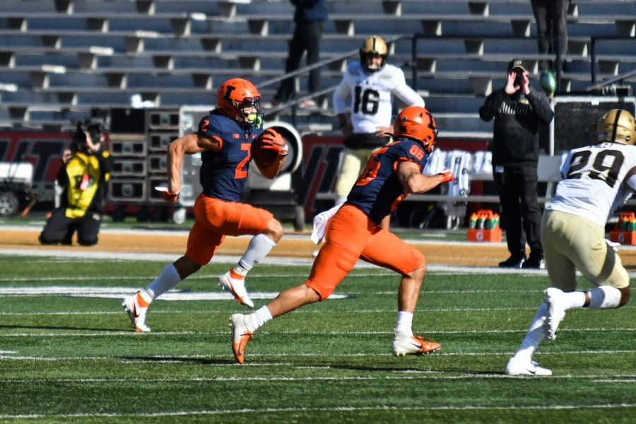 Illinois running back Chase Brown finds an opening during the game against Purdue on Oct. 31.