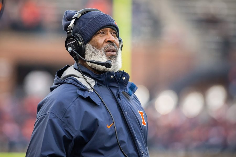 Illinois head coach Lovie Smith looks up at the scoreboard during the game against Iowa at Memorial Stadium on Saturday, Nov. 17, 2018.