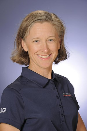 Illinois women's golf head coach Renee Slone poses for a headshot.