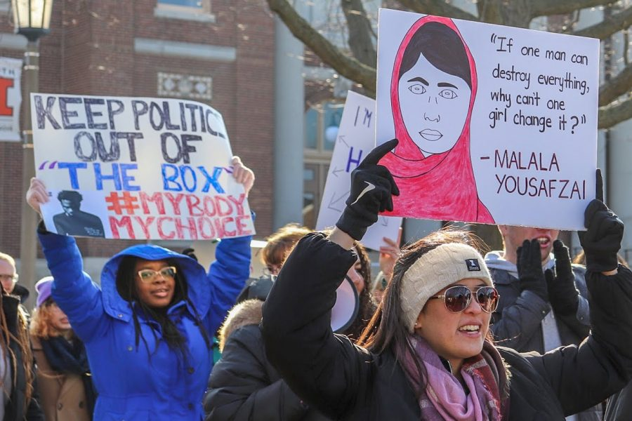 Protesters march on the Main Quad during the Women's March on Jan. 26.