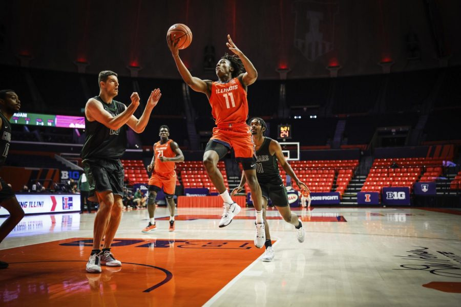 Junior Ayo Dosunmu goes for a layup during the game against Chicago State on Thursday. The Illini won the game 97-38.
