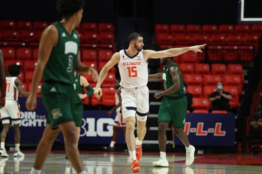 Junior Giorgi Bezhanishvili points towards the sideline during the game against Ohio on Friday.