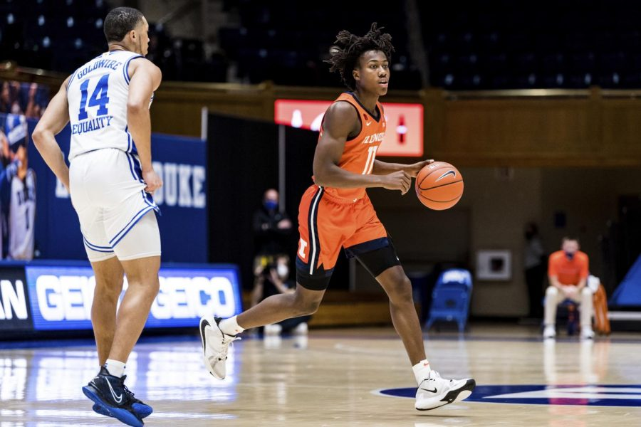 Junior+Ayo+Dosunmu+advances+the+ball+during+the+game+against+Duke+on+Tuesday.+The+Illini+won+the+game+83-68.