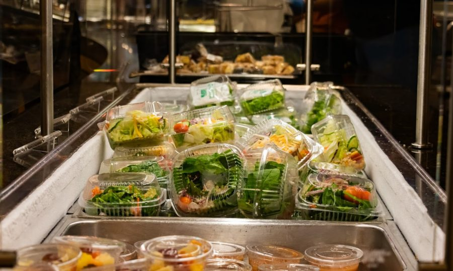 Prepackaged individual meals await students to pick them up on Oct. 2. The University dining halls had to make several adaptions to accommodate for COVID-19 safety measures.