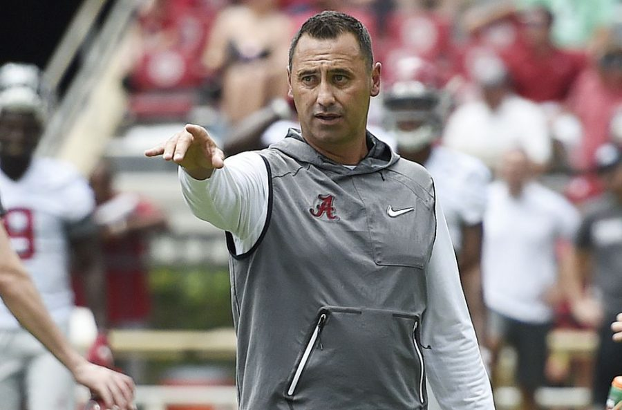 Alabama offensive coordinator Steve Sarkisian during open practice at Fan Day in Bryant-Denny Stadium Aug. 3, 2019.