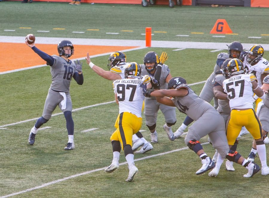 Offensive lineman Kendrick Green (53) blocks defenders during the game against Iowa on Dec. 5. Green has been named to the All-Big Ten first-team.