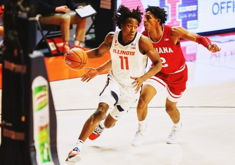 Junior Ayo Dosunmu speeds towards the basket during the game against Indiana on Saturday. The Illini won the game 69-60 with Dosunmu scoring 30 points.