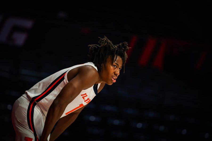 Ayo Dosunmu looks to the court during Illinois' game against North Carolina A&T on Nov. 25. Dosunmu will need to have a big game on Tuesday when the Illini face the Duke Blue Devils.