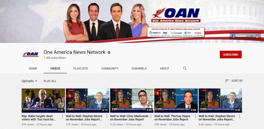 The OANN Youtube channel's main landing page on Monday morning is pictured above. Columnist Nathaniel Langley argues that Youtube does not receive enough oversight.