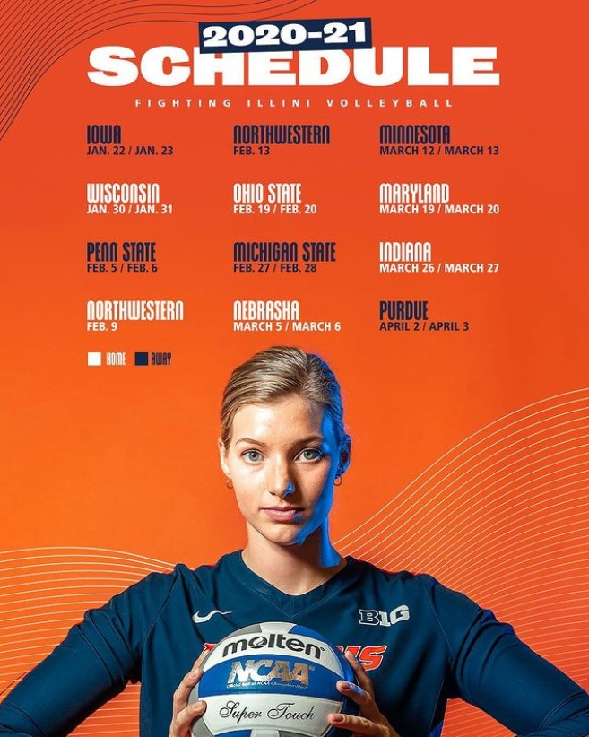 A post from the official Illinois volleyball Instagram details the team's schedule for the 2020-2021 season.