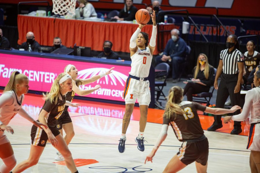 J-Naya Ephraim shoots the ball during Illinois' game against Valparaiso Wednesday night at home. The Illini fell 62-59 to the Crusaders.