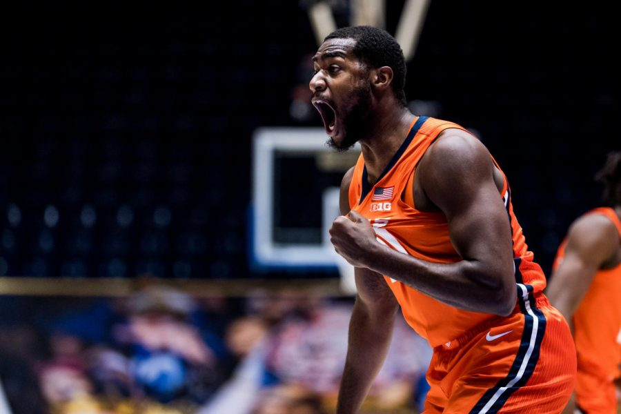 Da'Monte Williams is hyped after a play in Illinois' game against Duke on Tuesday. The Illini won 83-68.