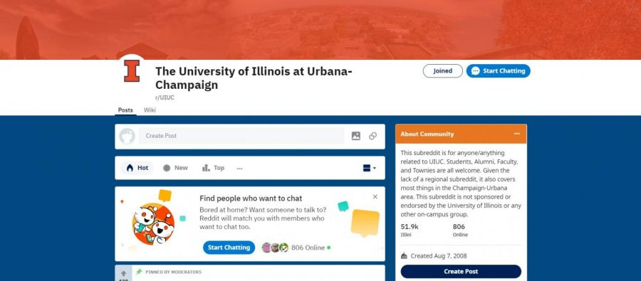 The front page of the UIUC subreddit is pictured above.
