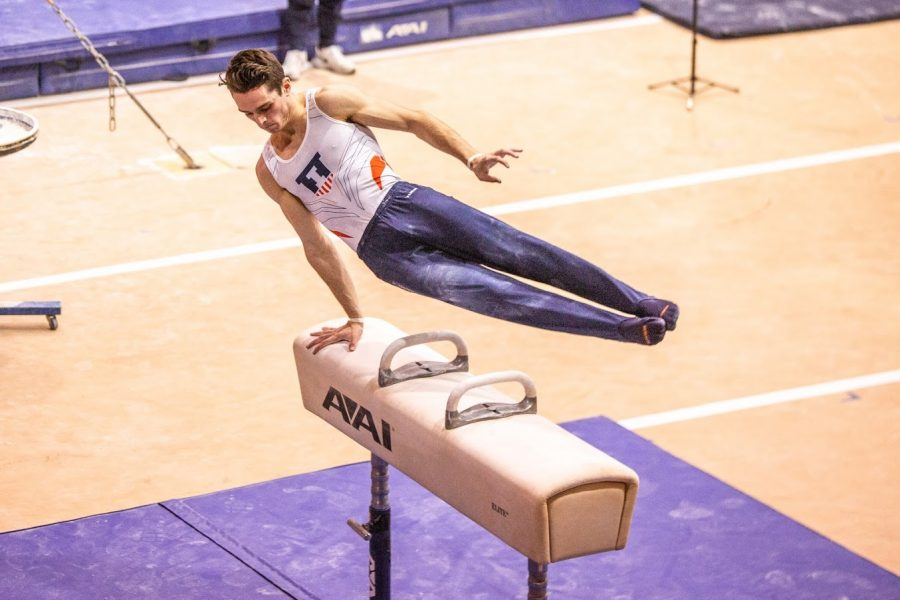 Junior Léo Valentin competes in the Pommel horse event during the meet against Ohio State on Jan. 23.