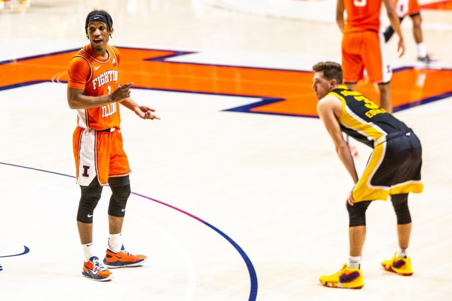 Senior+Trent+Frazier+yells+out+to+a+teammate+during+the+game+against+Iowa+on+Friday.+The+Illini+won+the+game+80-75.
