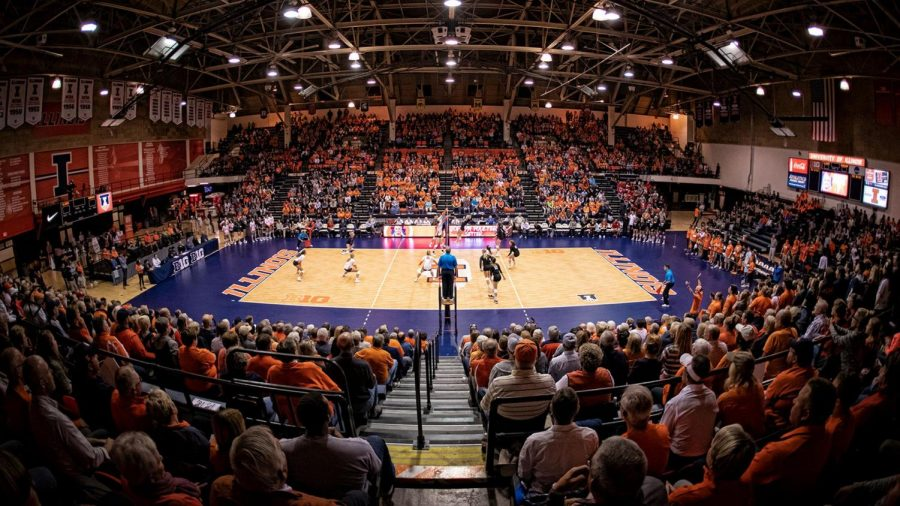 The Illinois volleyball team places a game during the 2019-2020 season. The team will play its first match of this season today at Iowa.