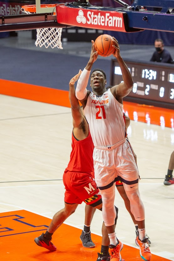 Sophomore Kofi Cockburn jumps to shoot during the game against Maryland on Jan. 11. The Illini will face off with Iowa tonight at State Farm Center.