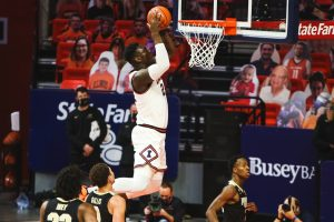 Sophomore Kofi Cockburn dunks the ball during the game against Purdue on Saturday.