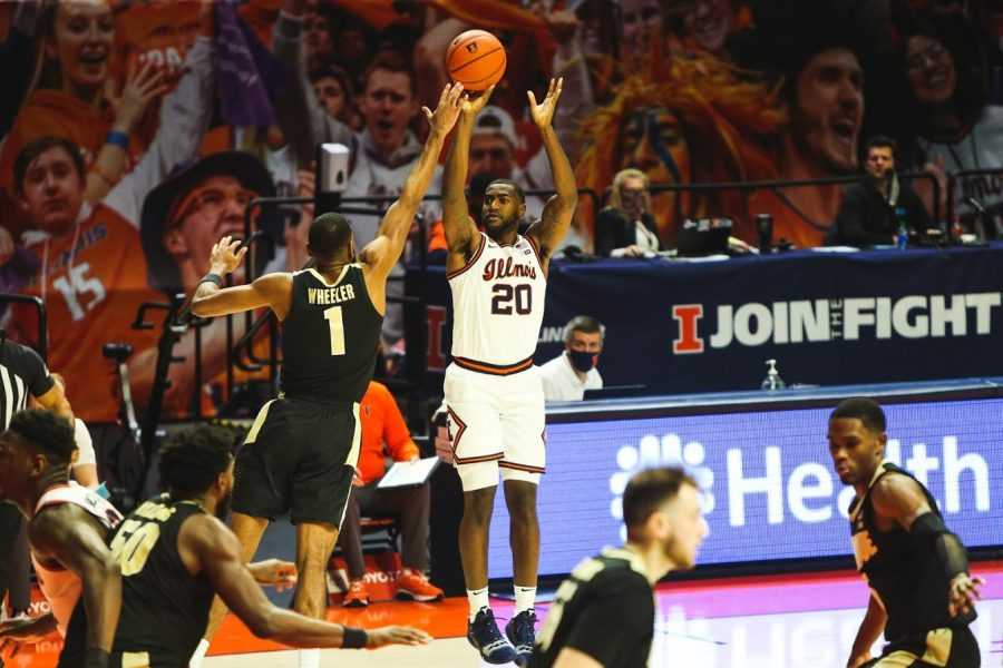 Senior+Da%27Monte+Williams+takes+a+shot+during+the+game+against+Purdue+on+Saturday.+The+Illini++won+the+game+66-58.