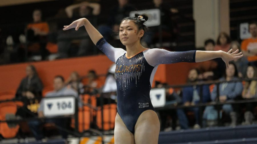 Mia Takekawa poses during a meet against Central Michigan on March 1.