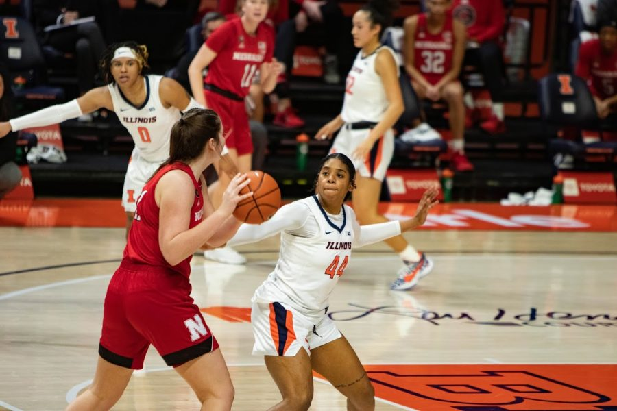 Sophomore Kennedi Myles tries to head off a push from an opponent during the game against Nebraska on Jan. 25. On Sunday, the women's basketball team traveled to play Wisconsin and lost 69-57.