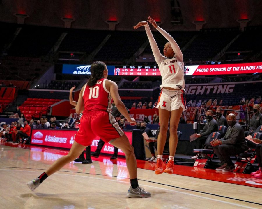 Jada Peebles shoots a three during Illinois' game against Ohio State on Thursday. The Illini fell 78-55.