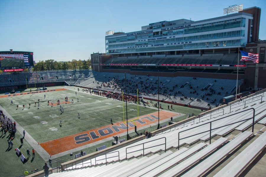Memorial Stadium rests largely empty during the game between Illinois and Purdue on Oct. 31, 2020.