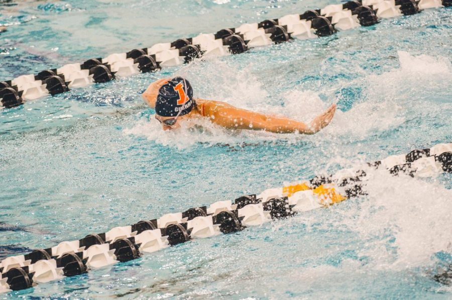 Sophomore Isabelle Guerra competes at the meet against Purdue on Jan. 16.