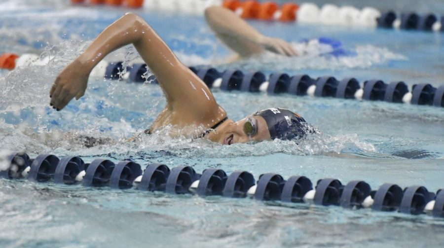 Senior Jimena Martinez swims freestyle during the meet against Nebraska on Saturday.