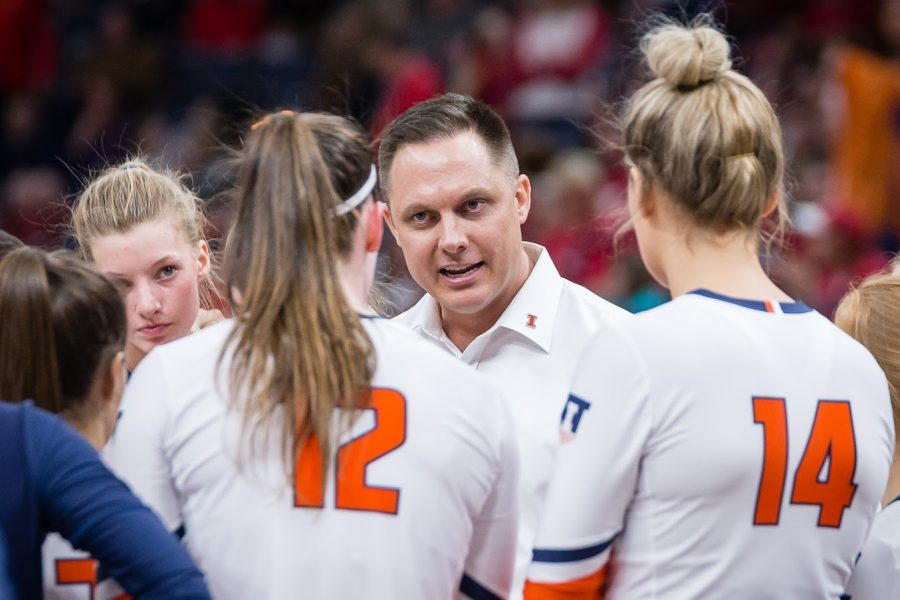 Illinois head coach Chris Tamas talks to his team during a timeout in the match against Nebraska in the Final Four of the NCAA tournament at the Target Center on  Dec. 13, 2018. Illinois will have its home opener today against Wisconsin at Huff Hall.