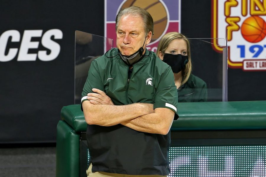 Michigan State head coach Tom Izzo looks on in the second half of their game against Iowa at the Breslin Center in East Lansing, on  Feb. 13, 2021.