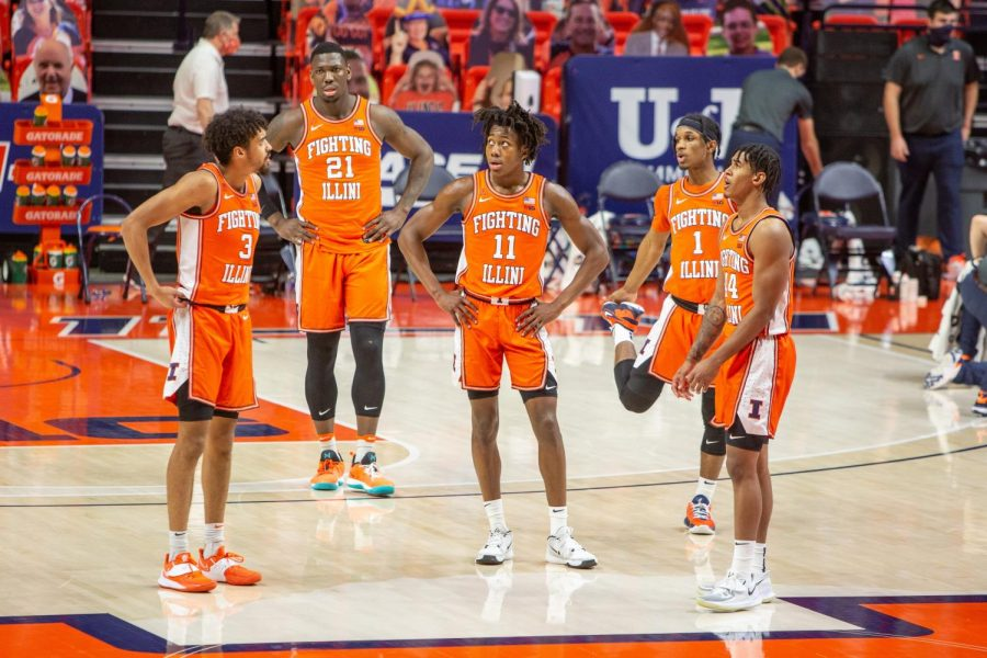 Illinois%27+group+of+starters+stand+together+during+Illinois%27+game+against+Penn+State+on+Jan.+19.