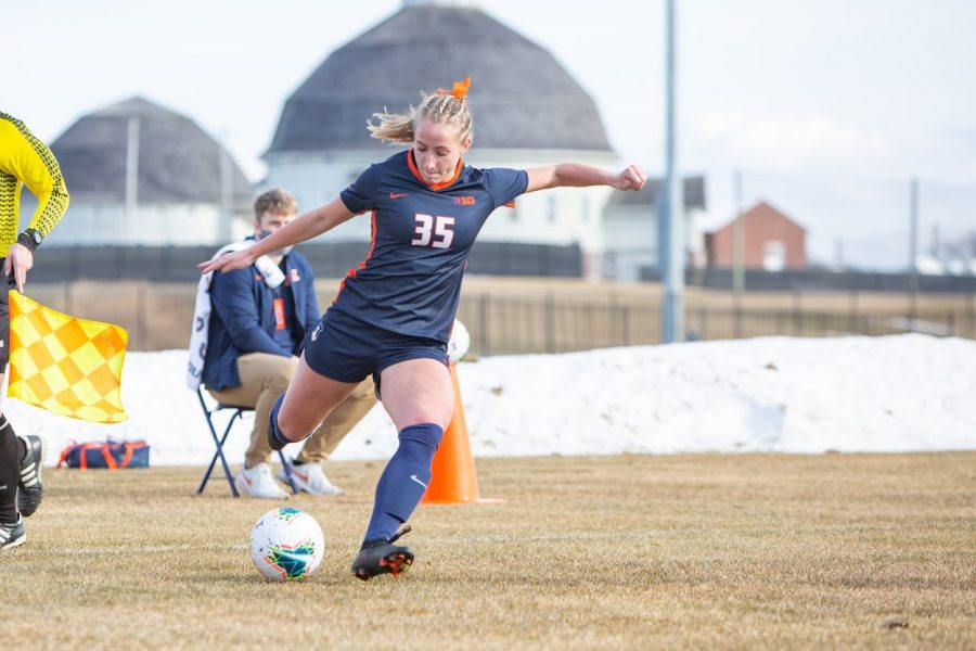 Junior Lauren Stibich moves the ball forward during the game against Iowa on Friday. The team lost to Penn State 2-0 on Sunday.