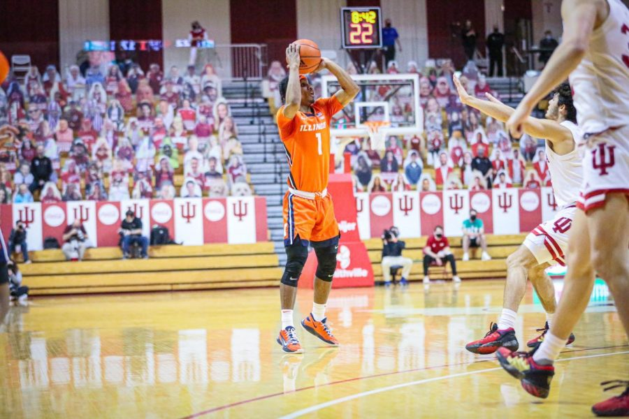 Trent Frazier shoots a three-pointer in Illinois' win against Indiana on Tuesday. Frazier had another big game, scoring 19 points.