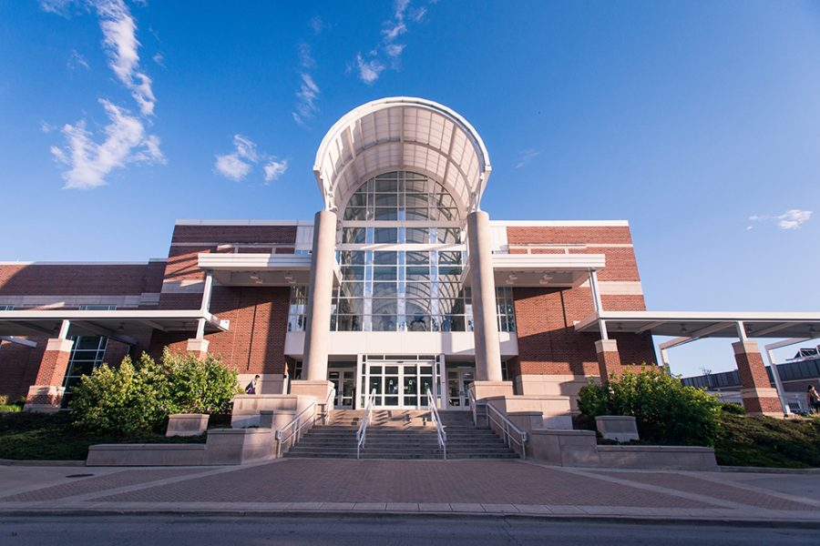The front entrance to the Activities and Recreation Center stands tall late in the afternoon. The ARC has reopened to students in a limited capacity, making reservations hard to attain for some students.