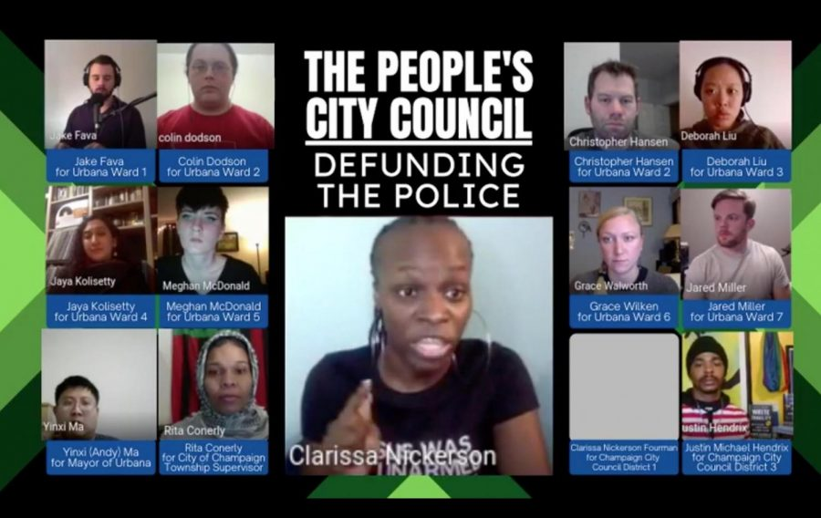"""Champaign City Council member Clarissa Nickerson Fourman speaks during the """"People's City Council"""" forum on Thursday. Speakers at the forum discussed defunding the police in Champaign and Urbana."""