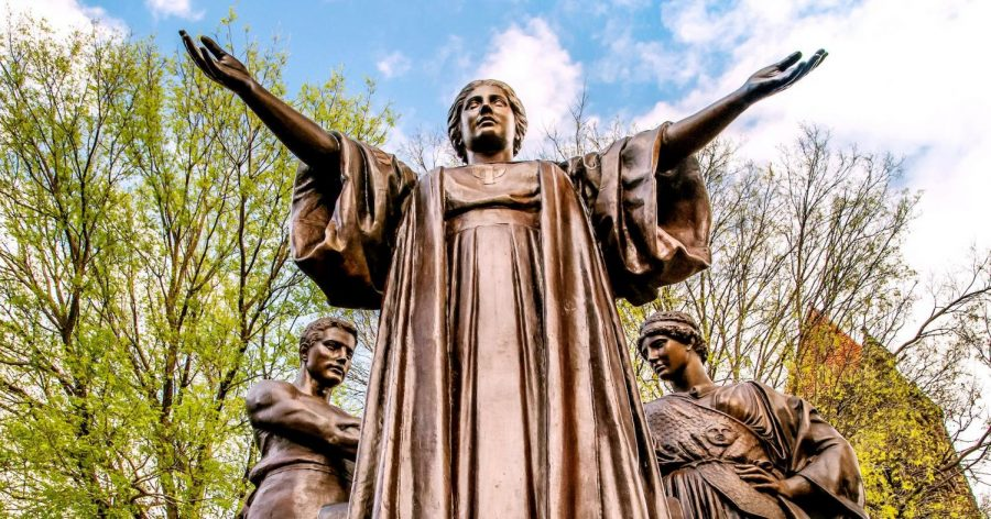 The Alma Mater statue stands on the corner of Green and Wright streets on a spring day. The Graduate College is expecting an increase of applicants with credit/no credit grades in their transcripts.