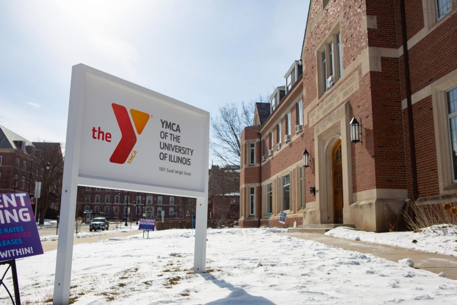 The front of the University YMCA is pictured above. Several students live as residents on the third floor of the building.
