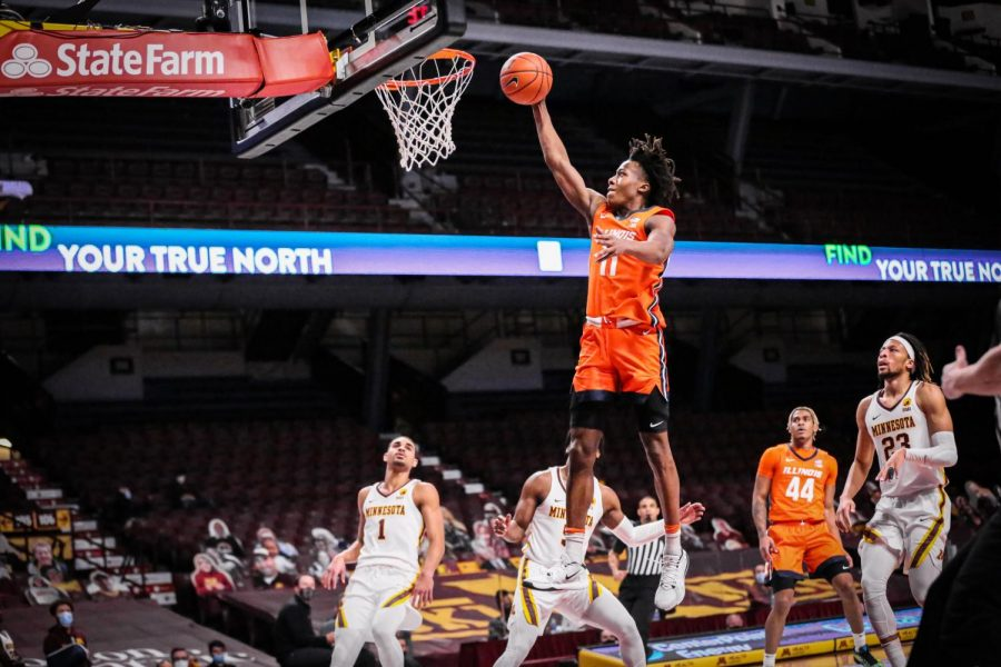 Ayo+Dosunmu+goes+for+a+dunk+against+Minnesota+on+Feb.+20.+Dosunmu+notched+his+second+triple-double+of+the+season+in+a+94-63+win+over+the+Golden+Gophers.