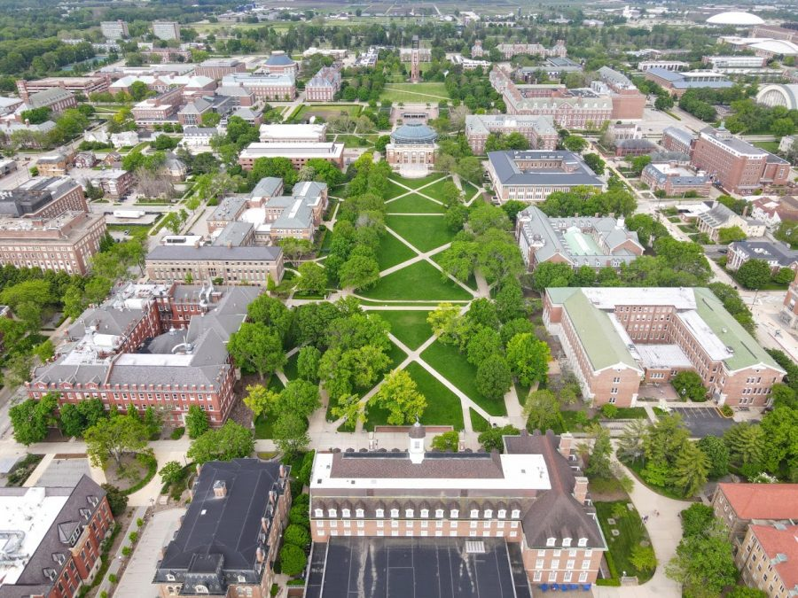 An aerial view of the Main Quad is pictured above. The University will be adding funds to support up to 15 new Targets of Opportunity Program-eligible hires through the 2022-2023 academic year.