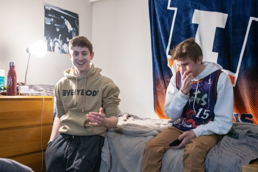 Two roommates relax in their dorm room on Feb. 15, 2020. Having solid roommates is a great boon during the COVID-19 pandemic.