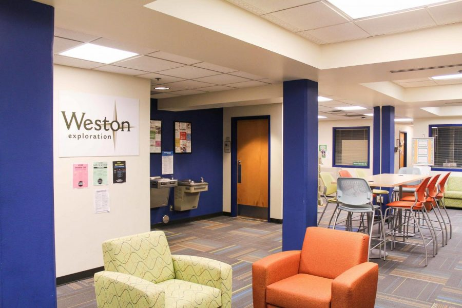 A common area in the Weston Exploration LLC sits quietly. There are several things to get used to when living in a dorm freshman year.