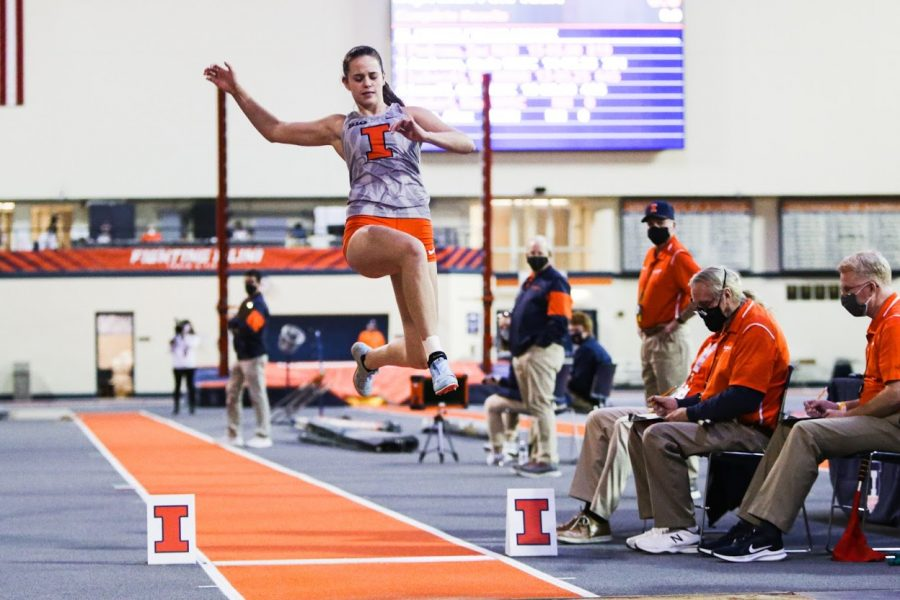 Junior Lucy Lux-Rulon competes in the long jump event during the Illini B1G Multi-Meet on Jan. 30. The Illinois track team finished the regular season on Saturday.